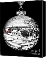 Holiday Drawings Canvas Prints - Red Barn Winter Scene Ornament  Canvas Print by Peter Piatt