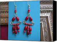 Red Beadm Wire Jewelry Canvas Prints - Red Bead Earrings Canvas Print by Beth Sebring