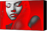 Party Digital Art Canvas Prints - Red Beauty  Canvas Print by Irina  March