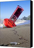 Sandy Canvas Prints - Red bell buoy on beach with bottle Canvas Print by Garry Gay