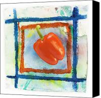 Red Canvas Prints - Red Bell Pepper Canvas Print by Igor Kislev