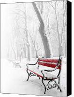 Seasonal Canvas Prints - Red bench in the snow Canvas Print by  Jaroslaw Grudzinski