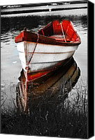 Black And White Canvas Prints - Red Boat Canvas Print by Dapixara Art