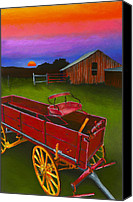 Rural Texas Canvas Prints - Red Buckboard Wagon Canvas Print by Stephen Anderson