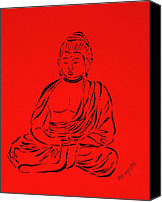 Allegretto Art Canvas Prints - Red Buddha Canvas Print by Pamela Allegretto