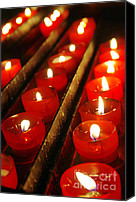Decorate Canvas Prints - Red Candles Canvas Print by Carlos Caetano