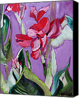 Canna Lilies Canvas Prints - Red Canna Lily Canvas Print by Suzanne Willis