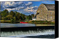 Clinton Photo Canvas Prints - Red Canoes at the Boathouse Canvas Print by Paul Ward