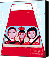 Mom Mixed Media Canvas Prints - Red Car Canvas Print by Patrick J Murphy