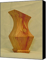 Vase Sculpture Canvas Prints - Red Cedar Vase II Canvas Print by Russell Ellingsworth