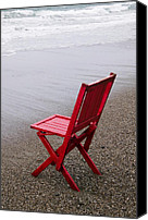 Sandy Canvas Prints - Red chair on the beach Canvas Print by Garry Gay