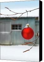 Celebrating Canvas Prints - Red christmas ball Canvas Print by Sandra Cunningham