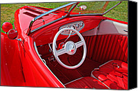 Hot Ford Canvas Prints - Red classic car Canvas Print by Garry Gay