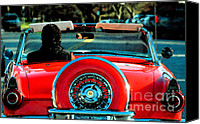 Family Room Canvas Prints - Red Convertible Canvas Print by adSpice Studios