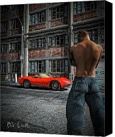 Muscle Car Photo Canvas Prints - Red Corvette Canvas Print by Bob Orsillo