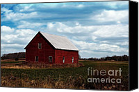 Rural Scenes Mixed Media Canvas Prints - Red Counrty Barn Canvas Print by Ms Judi