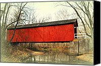 Marty Koch Canvas Prints - Red Covered Bridge Canvas Print by Marty Koch