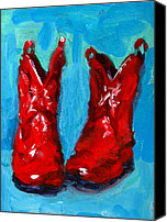Country Decor Canvas Prints - Red Cowboy Boots Canvas Print by Patricia Awapara