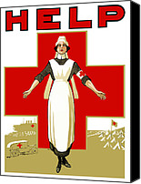 Red Cross Mixed Media Canvas Prints - Red Cross Help Canvas Print by War Is Hell Store