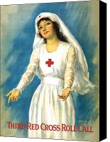 Aid Canvas Prints - Red Cross Nurse Canvas Print by War Is Hell Store