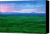 Rolling Hills Canvas Prints - Red Dawn over the Palouse Canvas Print by Mike  Dawson