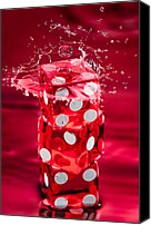Gambling Canvas Prints - Red Dice Splash Canvas Print by Steve Gadomski