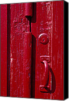 Door Handles Canvas Prints - Red door close up Canvas Print by Garry Gay