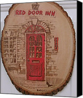 Door Pyrography Canvas Prints - Red Door Inn Canvas Print by Rj Schiller-artbyfire