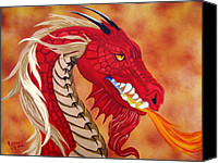 Creature Painting Canvas Prints - Red Dragon Canvas Print by Debbie LaFrance
