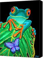Nature Art Canvas Prints - Red-eyed tree frog and butterfly Canvas Print by Nick Gustafson