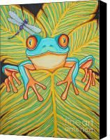 Frog Art Canvas Prints - Red eyed tree frog and dragonfly Canvas Print by Nick Gustafson