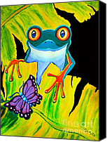 Red-eyed Frogs Canvas Prints - Red Eyed Tree Frog and Purple Butterfly Canvas Print by Nick Gustafson
