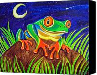 Red-eyed Frogs Canvas Prints - Red-eyed tree frog and starry night Canvas Print by Nick Gustafson