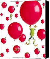 Red-eyed Frogs Canvas Prints - Red-eyed Treefrogs Floating On Red Canvas Print by Corey Hochachka