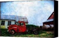 Barn Digital Art Canvas Prints - Red Farm Truck Canvas Print by Bill Cannon