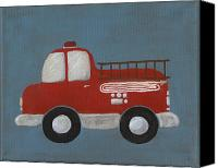 Siren Canvas Prints - Red Fire Truck Nursery Art Canvas Print by Katie Carlsruh