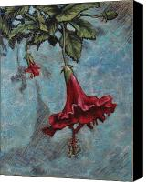 Hanging Pastels Canvas Prints - Red Flower Canvas Print by Greg Riley