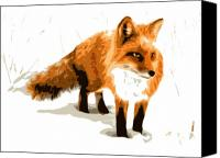 Winter Canvas Prints - Red Fox in Winter Canvas Print by Dean Caminiti