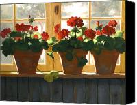 Florals Canvas Prints - Red Geraniums Basking Canvas Print by Linda Jacobus