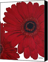 Contemporary Canvas Prints - Red Gerber Daisy Canvas Print by Marsha Heiken