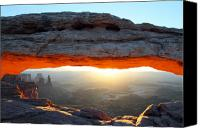 Mesa Arch Canvas Prints - Red glow at Mesa Arch in Canyonlands NP Canvas Print by Pierre Leclerc