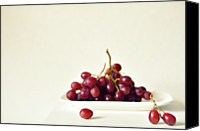 Rotterdam Canvas Prints - Red Grapes On White Plate Canvas Print by Photo by Ira Heuvelman-Dobrolyubova