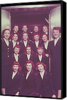 Group Of Women Canvas Prints - Red Haired Women In Front Of Elevator Canvas Print by Archive Holdings Inc.