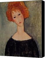 Red Lips Canvas Prints - Red Head Canvas Print by Amedeo Modigliani