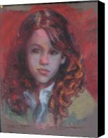 Young Pastels Canvas Prints - Red Head Canvas Print by Pamela Preciado