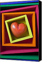 Hearts Photo Canvas Prints - Red Heart In Box Canvas Print by Garry Gay