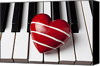 Keyboard Canvas Prints - Red heart with stripes Canvas Print by Garry Gay