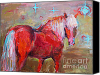 Abstract Equine Canvas Prints - Red horse contemporary painting Canvas Print by Svetlana Novikova