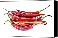 Peppers Canvas Prints - Red hot chili peppers Canvas Print by Elena Elisseeva