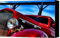 Hotrod Photo Canvas Prints - Red Hot Rod Canvas Print by Olivier Le Queinec